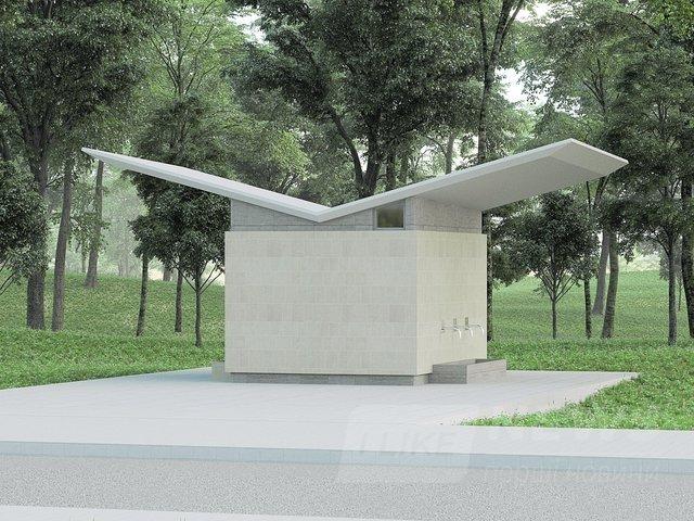 Бювет. На территории парка-мемориала на жилмассиве Таирова хотят пробурить артезианскую скважину и построить небольшое сооружение, где можно набрать питьевой воды. Авторы уверяют, что ни одно дерево рядом не пострадает. Фото: citizen.odessa.ua